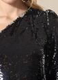 Agenda Tek Omuzlu Payetli Bluz Siyah